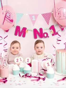Zestaw Urodzinowy URODZINY ROCZEK Topper balony BOX RÓŻOWY NO 1