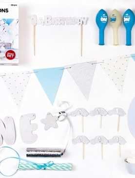 Zestaw Urodzinowy URODZINY ROCZEK Topper balony BOX BŁĘKITNY