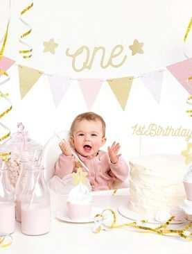 Zestaw Urodzinowy URODZINY ROCZEK Topper balony BOX RÓŻOWY ONE