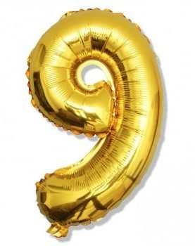 Balon foliowy 9 cyferka urodzinowa ZŁOTA 40 cm