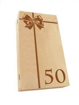 Kuferek SKRZYNECZKA urodzinowa z GRAWEREM na 50te urodziny