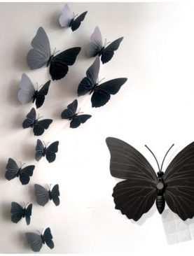 Motylki 3D z PCV na magnesie lub taśmie dwustronnej CZARNY