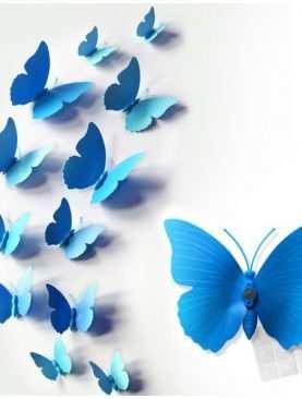 Motylki 3D z PCV na magnesie lub taśmie dwustronnej NIEBIESKIE