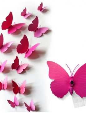 Motylki 3D z PCV na magnesie lub taśmie dwustronnej RÓŻOWE