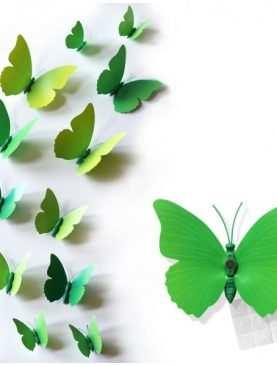 Motylki 3D z PCV na magnesie lub taśmie dwustronnej ZIELONY