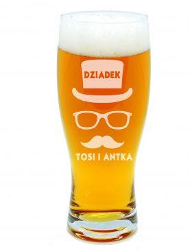 Szklanka na PIWO z personalizacją Czapka z wąsami