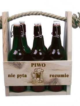 Skrzynka drewniana na butelki Piwo nie pyta - Rozumie