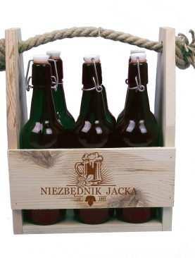 Skrzynia na butelki z kuflem piwa + imię