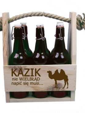 Skrzynka z nadrukiem na piwo Człowiek nie wielbłąd