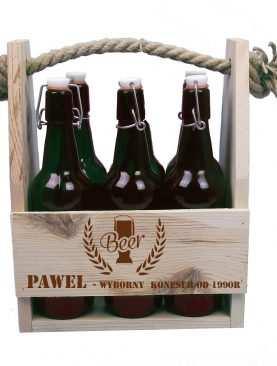 Nosidło drewniane na piwo z grawerem