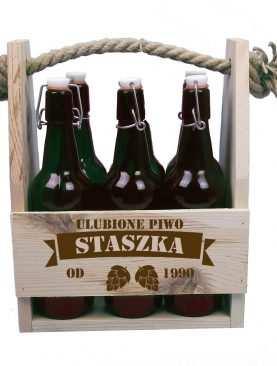 Nosidełko na piwo 6 butelek z grawerem