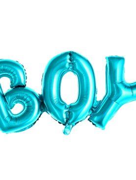 Balon foliowy BOY błekitny urodziny roczek chrzest