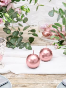 Świeczka kulka różowo złota 80 mm