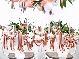 Duży balon foliowy Mr & Mrs różowe złoto