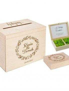 Komplet ślubny - skrzynka na koperty oraz szkatułka na obrączki