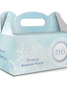 Niebieskie pudełka na ciasto komunijne