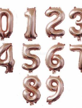 Balony foliowe RÓŻOWE ZŁOTO liczby 35 cm
