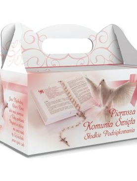 Pudełko na ciasta komunijne różowe z księgą