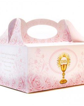 Pudełka na ciasta komunijne w kolorze różowym