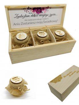 Prezent, prośba, GiftBox dla Świadkowej - personalizowana skrzyneczka z miodkami i dedykacją