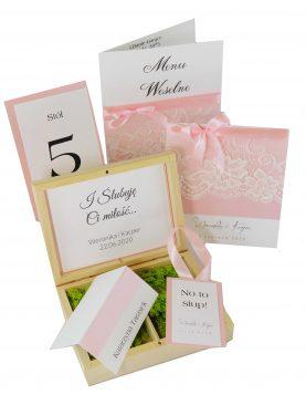 Zaproszenie ślubne - kolekcja Koronka z dodatkiem pudrowego różu