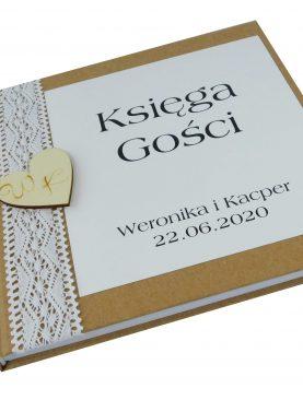 Indywidualna księga gości z Kolekcji Koronka EKO - personalizacja
