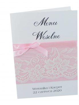Menu Weselne - Kolekcja Koronka z dodatkiem pudrowego różu