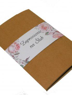 Zaproszenie ślubne - eko z dodatkiem kwiatowym