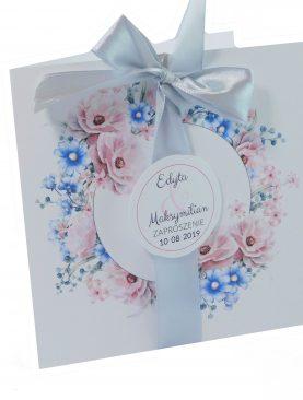 Zaproszenie ślubne kwiatowe z wstążeczka satynową