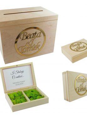 Komplet skrzynia na koperty i szkatułka na obrączki ze złotymi dodatkami