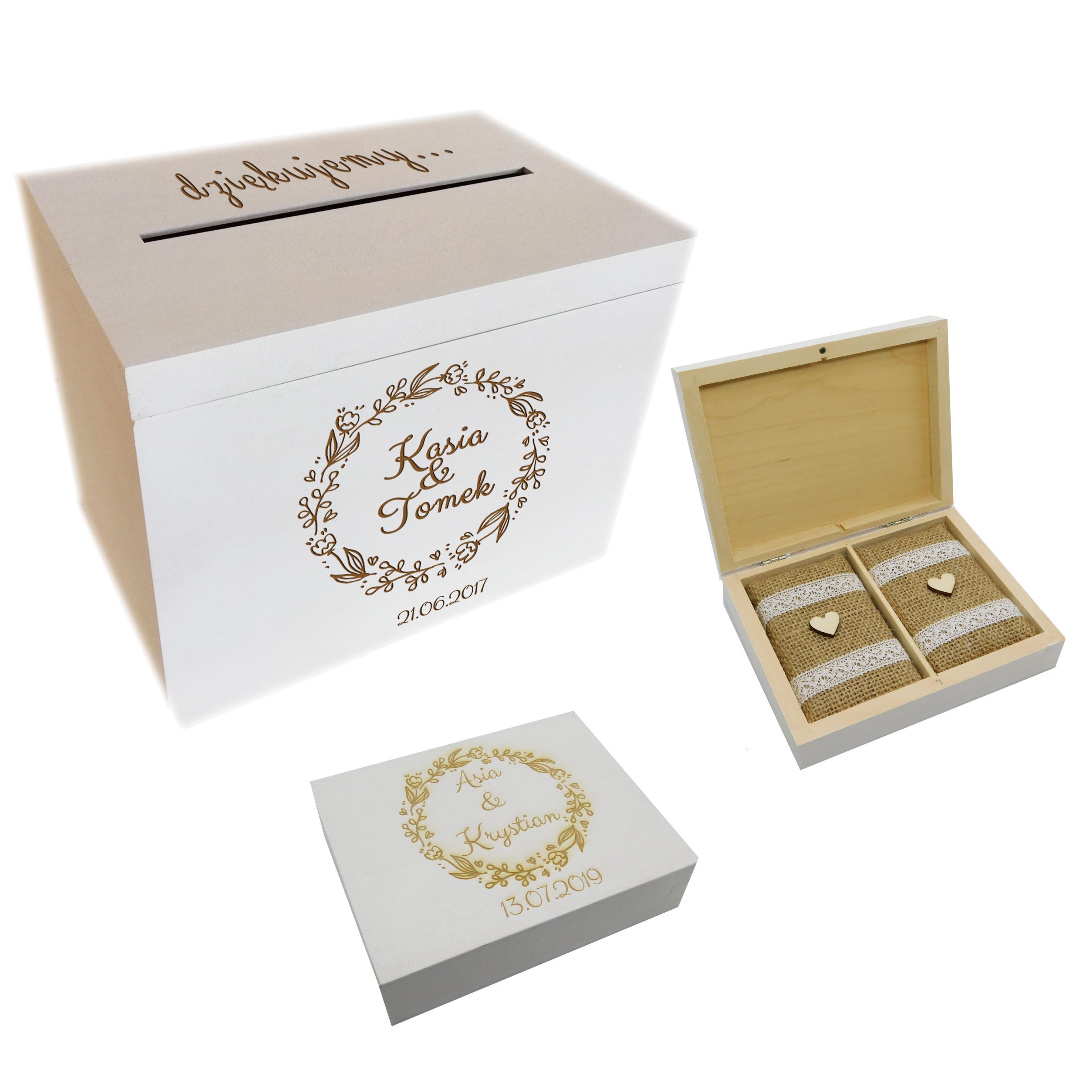Biały komplet ślubny - skrzynia na koperty i szkatułka z wypełnieniem jutowym