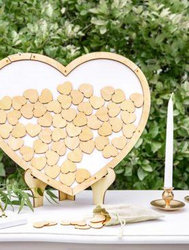 Drewniana Księga Gości rama do wrzucania w kształcie serca