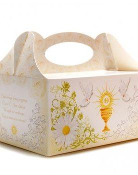 Pudełka na komunię z kwiatuszkiem i hostią
