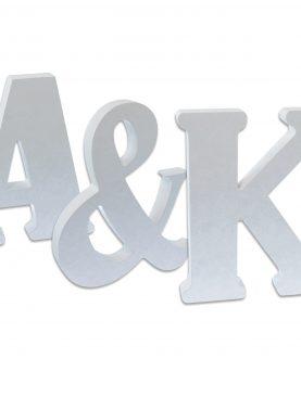Litery ślubne Inicjały drewniane białe cały alfabet