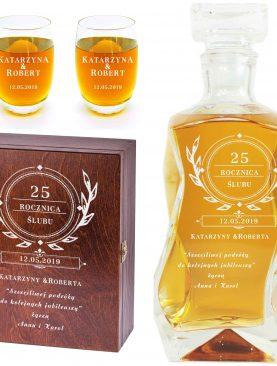 Karafka + 2 szklaneczki w eleganckiej skrzyni Prezent na Rocznicę Ślubu