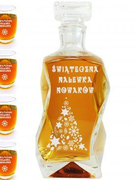 Świąteczna karafka oraz szklanki z grawerem choinki