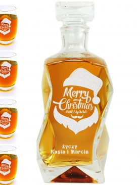 Mikołajowy prezent - karafka oraz szklanki z indywidualnymi napisami