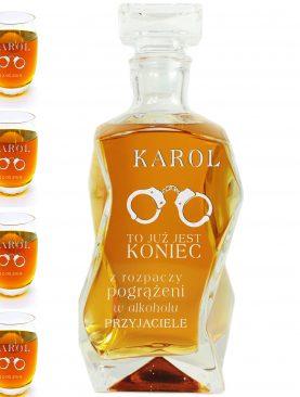Karafka + 6 szklanek whisky - Koniec Wolności z kajdankami