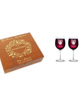 Personalizowany Komplet dla Rodziców - skrzynka z kieliszkami do wina