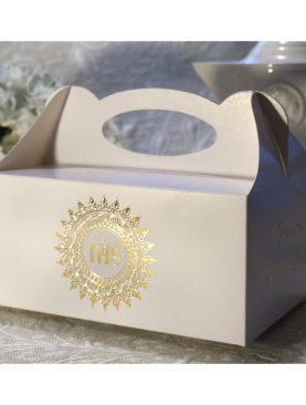 Złote pudełka na ciasto komunijne