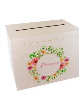 Biała skrzynka na koperty z ornamentem kwiatowym