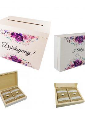 Kolorowy komplet ślubny - skrzynia na koperty i obrączki