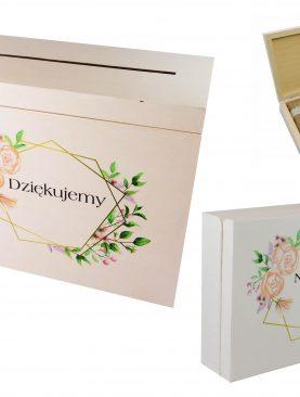 Skrzynia na koperty z wzorem geometrycznym w zestawie ze szkatułką