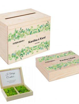 Drewniane pudełko na koperty z kolorowym nadrukiem UV