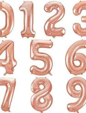 Balony foliowe metrowe - różowe złoto - cyfry od 0 do 9