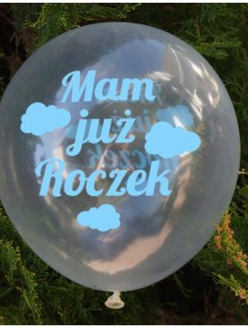 Balon urodzinowy dla chłopca - przezroczysty z chmurkami - kolekcja samolocik