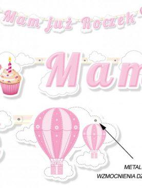 Baner 1 urodziny - Mam już roczek - wzór babeczka dla dziewczynki