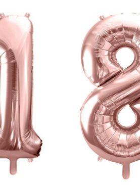 Balony 1 i 8 różowe złoto na osiemnastkę