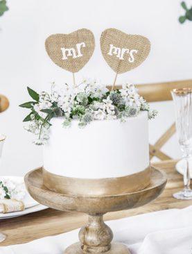 Topper na tort jutowy z białym nadrukiem