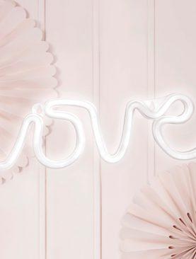 Biały Neon - napis LOVE led świecący